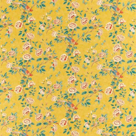 Sanderson Caspian Prints and Embroideries Andhara Fabric - Saffron / Teal - 226633 - Image 1