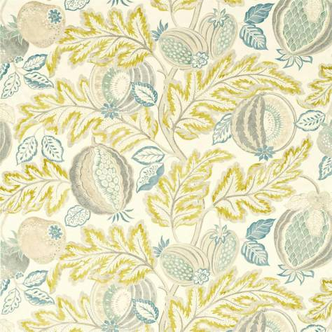 Sanderson Caspian Prints and Embroideries Cantaloupe Fabric - Sumac / Sage - 226637