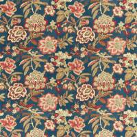 Indra Flower Fabric - Indigo / Cherry