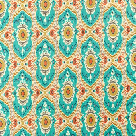 Sanderson Caspian Prints and Embroideries Niyali Fabric - Teal / Saffron - 226648