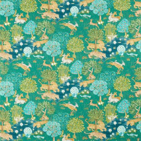 Sanderson Caspian Prints and Embroideries Pamir Garden Fabric - Teal - 226651