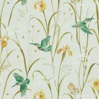 Kingfisher and Iris Fabric - Teal / Amber
