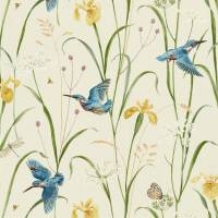 Kingfisher and Iris Fabric - Azure / Linen