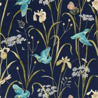 Kingfisher and Iris Fabric - Navy / Teal