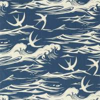 Swallows at Sea Fabric - Navy