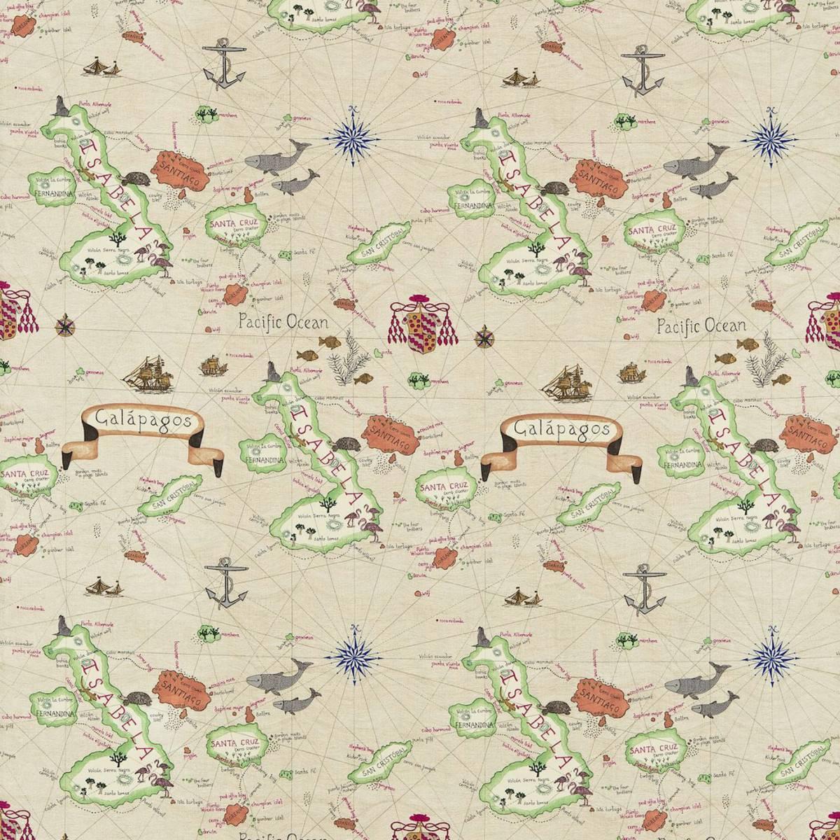 galapagos fabric parchment 223275 sanderson voyage. Black Bedroom Furniture Sets. Home Design Ideas