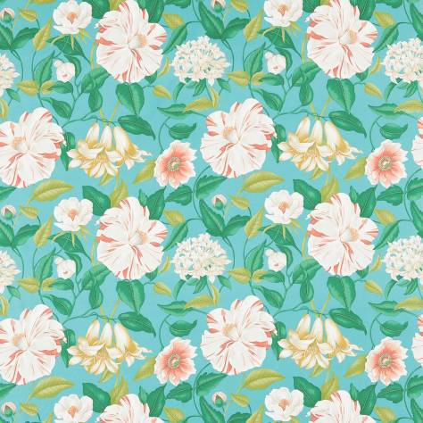 Sanderson Voyage of Discovery Fabrics Floreanna Fabric - Turquoise - 223284
