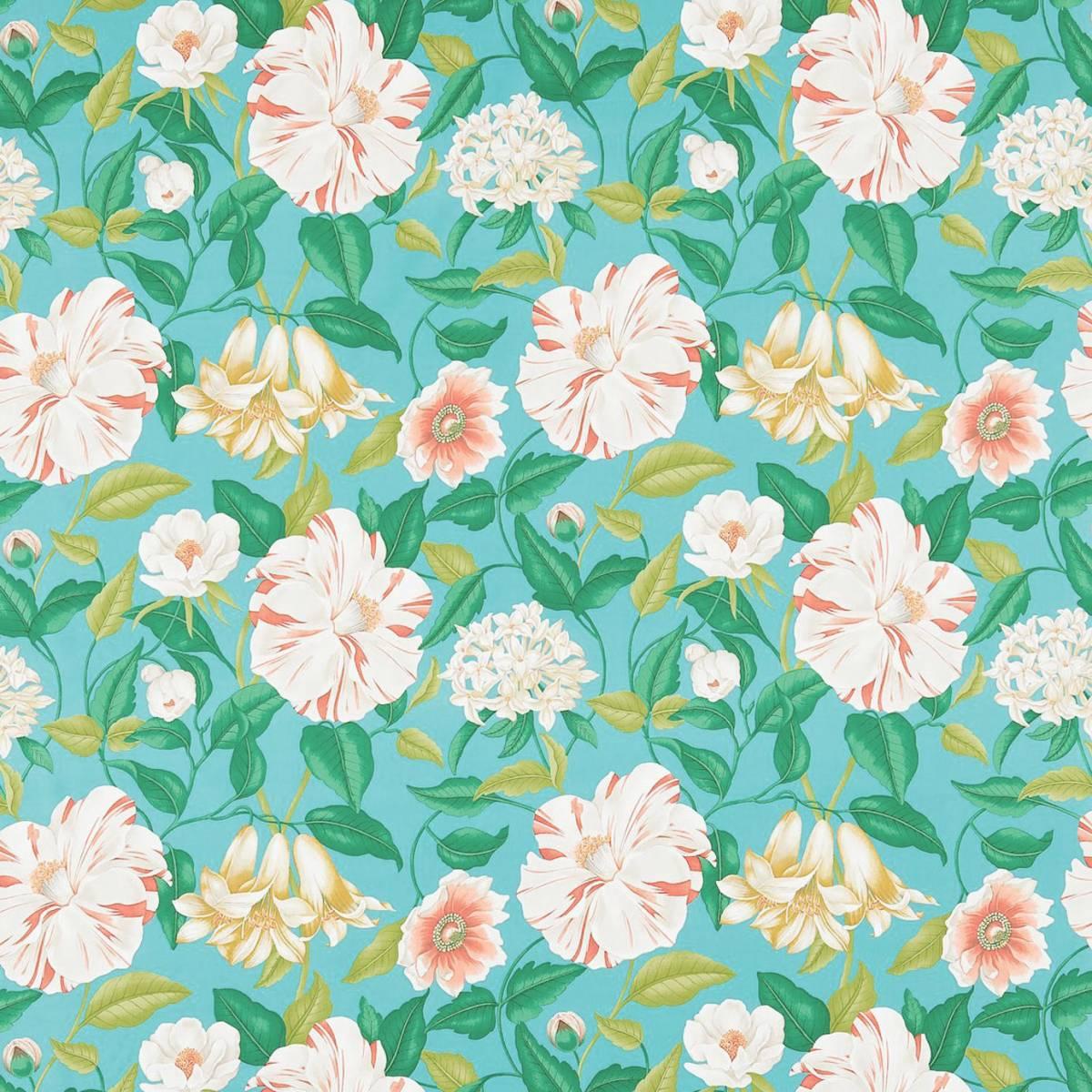 floreanna fabric turquoise 223284 sanderson voyage. Black Bedroom Furniture Sets. Home Design Ideas