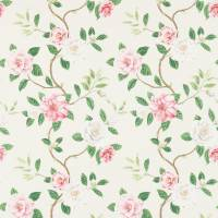 Christabel Fabric - Coral/Ivory
