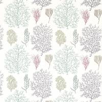 Coral Reef Fabric - Teal/Mauve