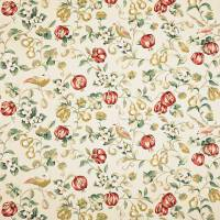 Pear and Pomegranate Fabric - Teal/Cherry