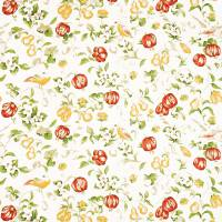 Pear and Pomegranate Fabric - Lemon/Vermillion