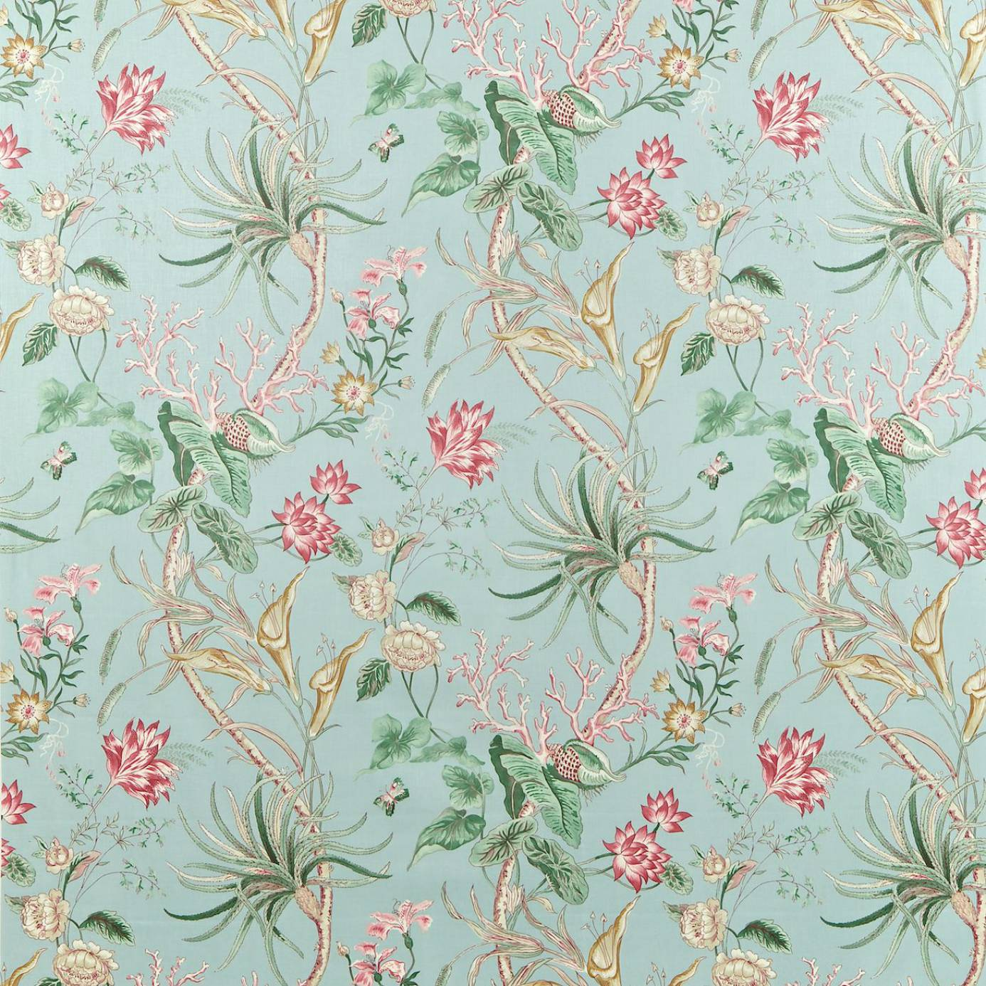 Curtains in mauritius fabric rose duckegg dcavma202 for Fabrics and materials