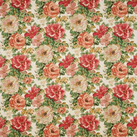 Sanderson Caverley Fabrics Midsummer Rose Fabric - Red/Green - DCAVMI203