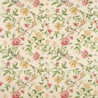 Porcelain Garden Fabric - Red/Beige