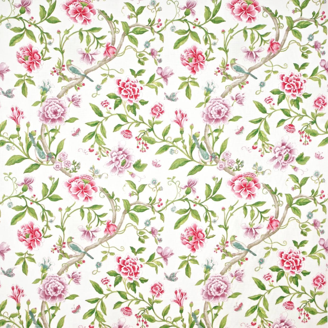 Porcelain Garden Fabric Magenta Leaf Green Dcavpo206