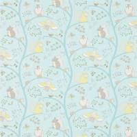 Going Batty Fabric - Sky Blue/Buttercup