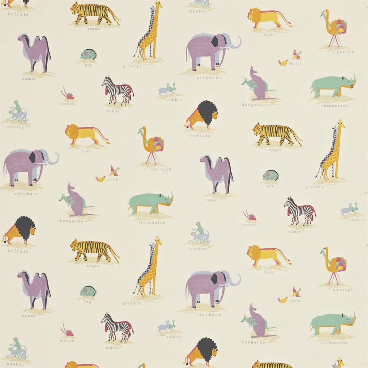 Curtains in two by two fabric vintage multi 223901 for Designer childrens fabric