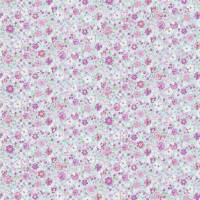 Posy Floral Fabric - Pink/Sky