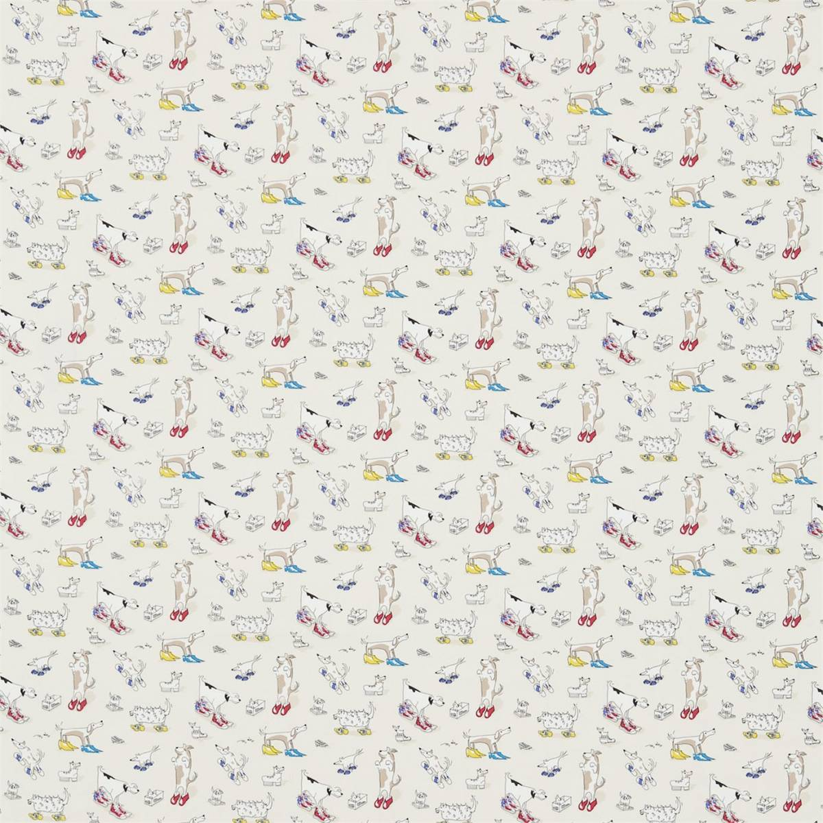 Scrapbook paper dogs - Sanderson Abracazoo Fabrics Wallpapers Dogs In Clogs Fabric Rainbow Brights 223907 Loading Zoom