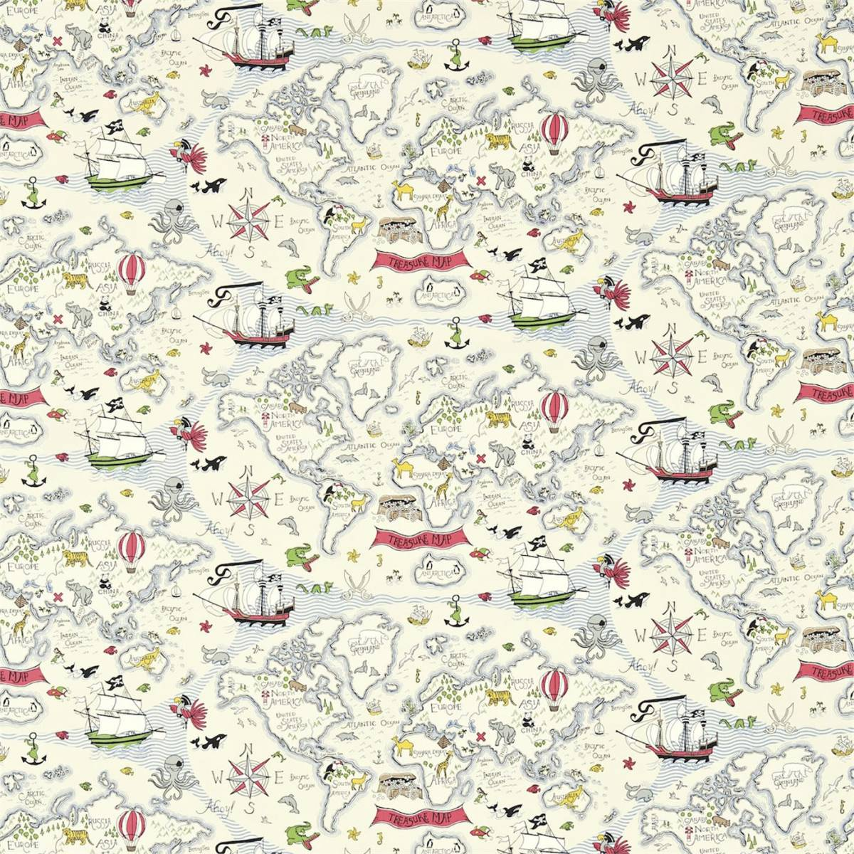 San Treasure Map Fabric Vanilla Sanderson Abracazoo Fabrics And Wallpapers Collection