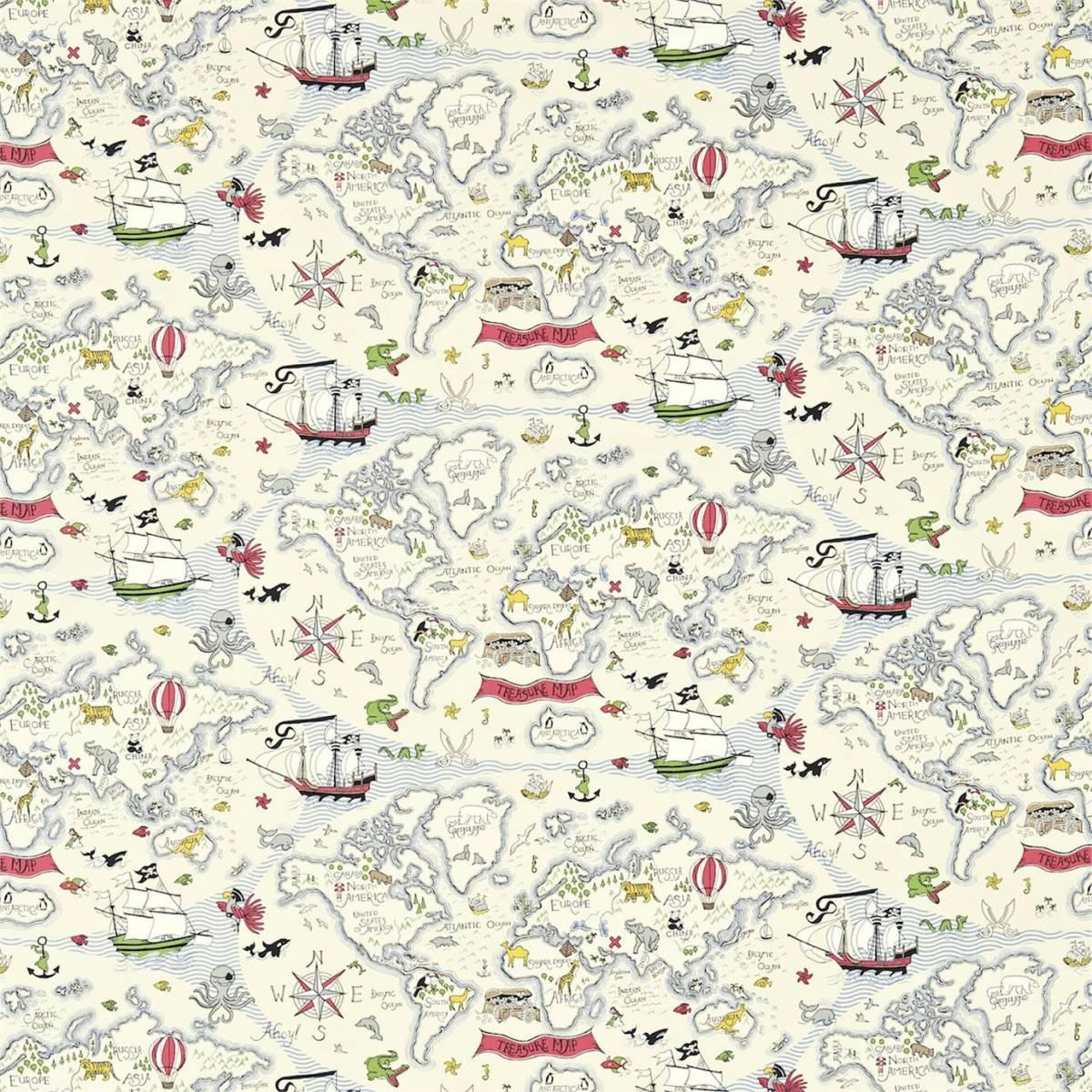 treasure map fabric vanilla 223913 sanderson. Black Bedroom Furniture Sets. Home Design Ideas