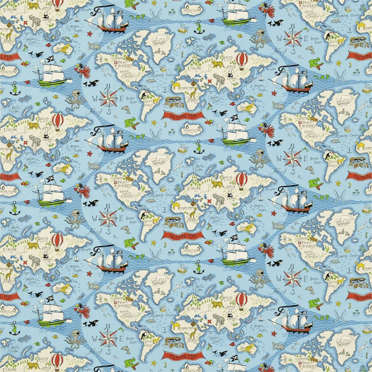 Treasure map fabric sea blue 223914 sanderson for Children of the sea fabric