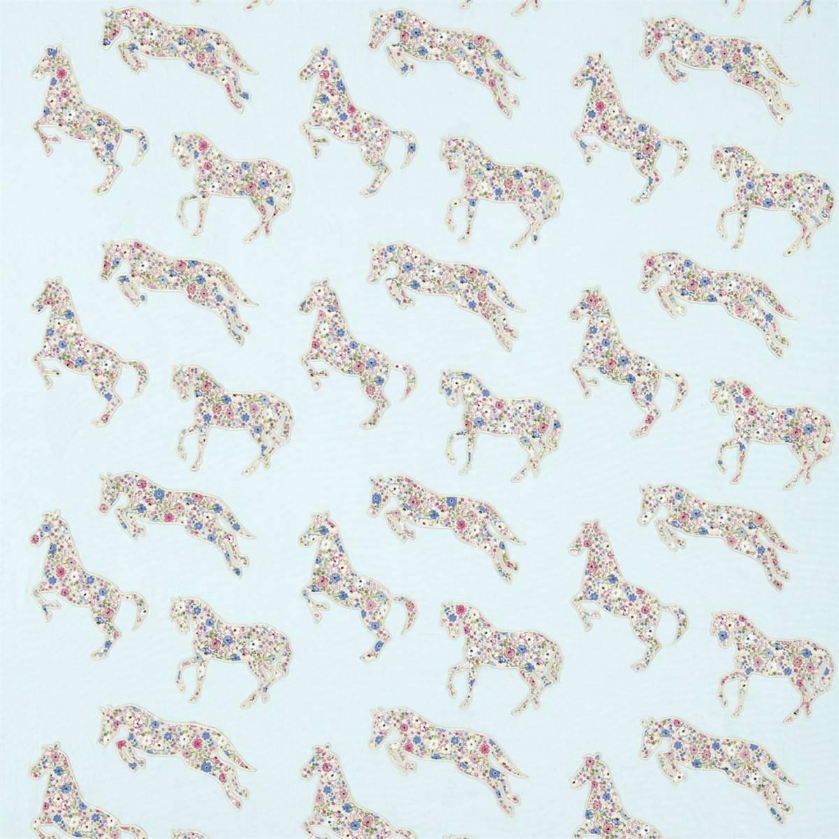 pretty ponies fabric chintz blue 233925 sanderson. Black Bedroom Furniture Sets. Home Design Ideas