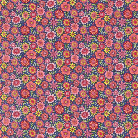 Scion Guess Who? Fabrics Bloomin Lovely Fabric - Sherbet/Rhubarb/Denim - 120447