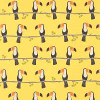 Terry Toucan Fabric - Tangerine/Charcoal/Maize