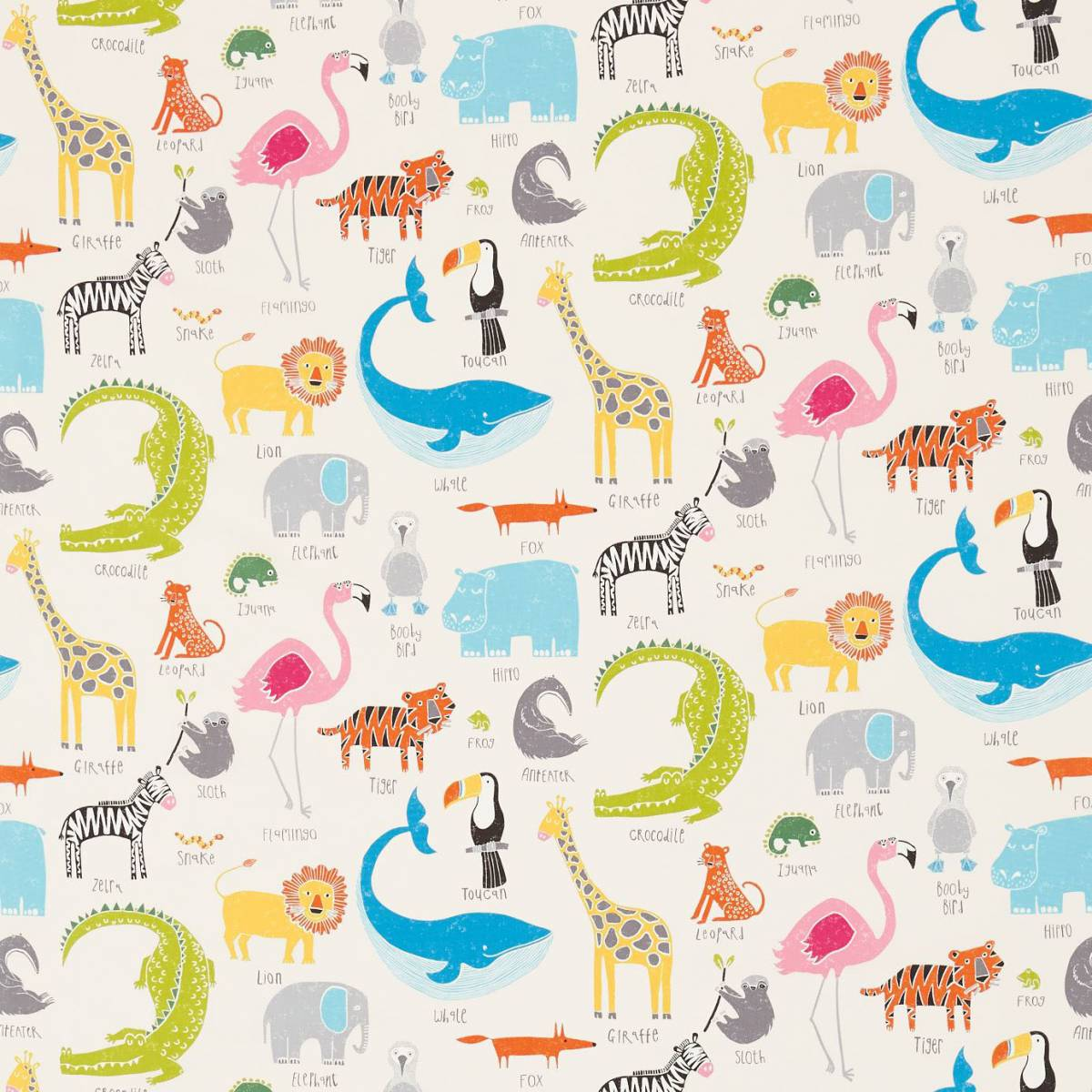 Animal magic fabric tutti frutti chalk 120467 scion for Children of the world fabric