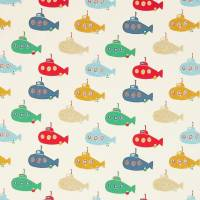 Up Periscope Fabric - Postbox Red/Pea/Denim