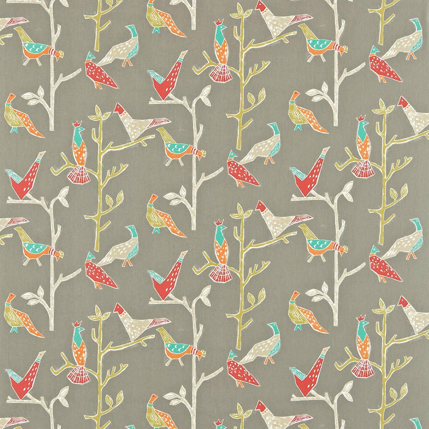 Fabric Wall Paper : Passaro fabric coral pewter scion wabi sabi