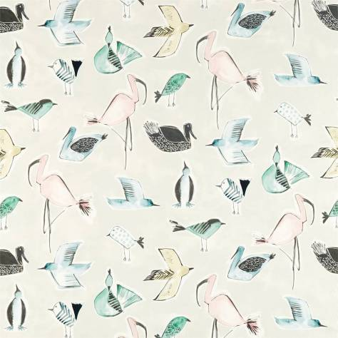 Scion Zanzibar Fabrics Menagerie Fabric - Blush / Mint - 120784