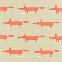 Mr Fox Fabric - Neutral/Paprika