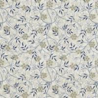 Jasmine Embroidery Fabric - Ecru/Woad