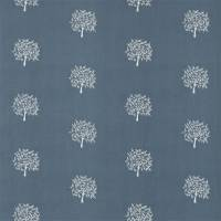 Woodland Tree Fabric - Grey Blue/Ivory