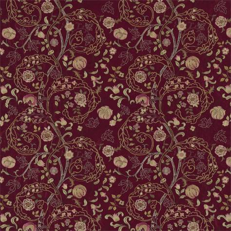 William Morris & Co Archive Embroideries Fabrics Mary Isobel Fabric - Wine/Rose - 230338 - Image 1