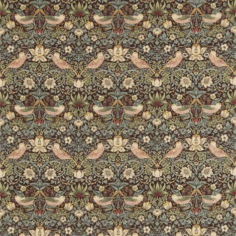 William Morris & Co Archive Prints Fabrics Strawberry Thief Fabric - Chocolate/Slate - 220311 - Image 1