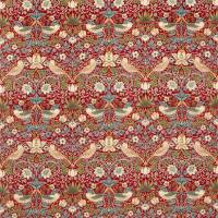 Strawberry Thief Velvet Fabric - Crimson / Slate
