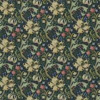Golden Lily Fabric - Midnight/Green
