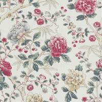 Tangley Fabric - Red/Ivory