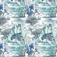 Jade Temple Outdoor Fabric - Cornflower