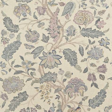Zoffany Jaipur Prints & Embroideries Kalamkari Fabric - Blue/Lilac - 321699