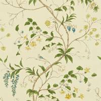 Chambalon Fabric - Ivory/Green