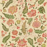 Indienne Fabric - Green/Coral