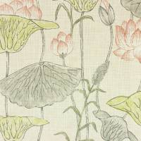 Lotus Flower Fabric - Linden/Coral