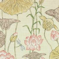 Lotus Flower Fabric - Gold/Red
