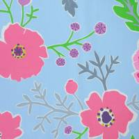Wind Poppies Fabric - Powder Blue/Fuchsia