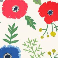Wind Poppies Fabric - Marine/Crimson